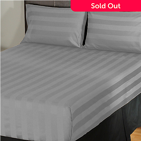 402-109 - North Shore Linens™ 500TC Egyptian Cotton Wide Damask Stripe Four-Piece Sheet Set