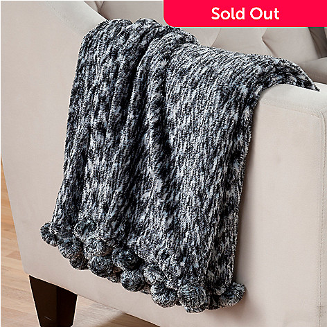 402-125 - Cozelle™ 57'' x 50'' Microfiber Pom Pom Space-Dyed Throw Blanket