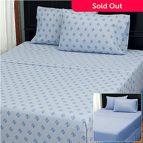 402-134 - Cozelle® ''Fleur de Lis'' Microfiber Set of Two Four-Piece Sheet Sets