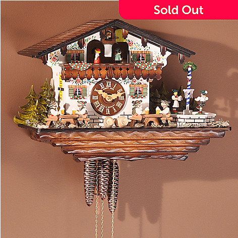403-267 - Hubert Herr Chalet Dancing Figures Musical Wood Black Forest Cuckoo Clock