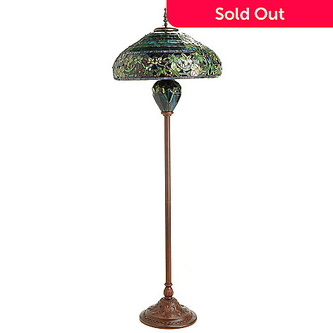 405-121 - Tiffany-Style 65'' Hampstead Stained Glass Double Lit Floor Lamp