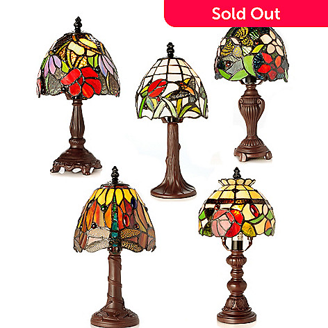 405-135 - Tiffany-Style 12.5'' Fantastic Five II Stained Glass Accent Lamps Set