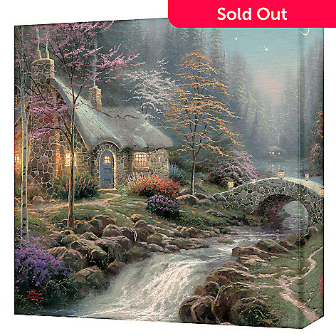 405-454 - Thomas Kinkade ''Twilight Cottage'' 14'' x 14'' Gallery Wrap