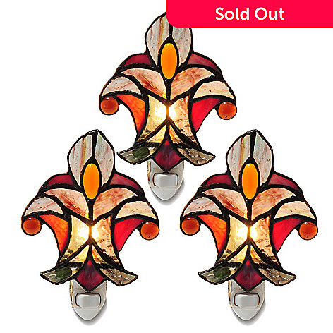405-479 - Tiffany-Style Set of Three Halston Stained Glass Nightlights