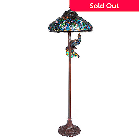 405-488 - Tiffany-Style 64'' Pleasure Peacock Double Lit Stained Glass Floor Lamp
