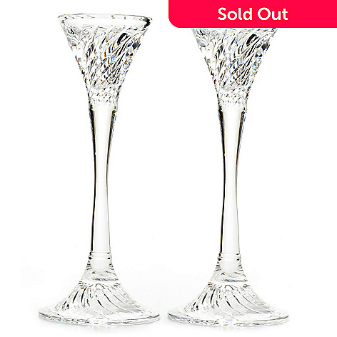 405-541 - Waterford® Signed Liam 8'' Crystal Candlestick Holders