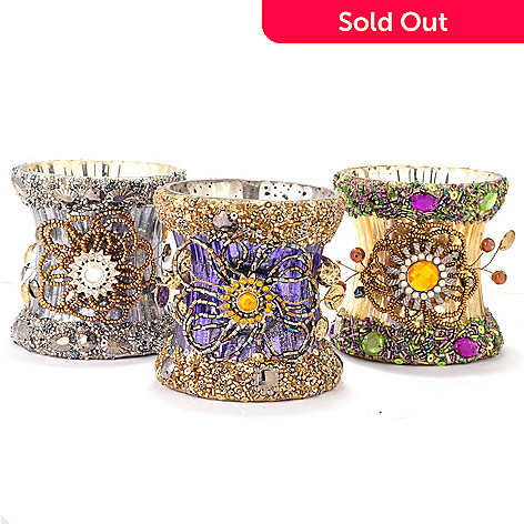 405-626 - Jewelry for Your Home by Margie Set of Three 3.2'' Jeweled Glass Votives