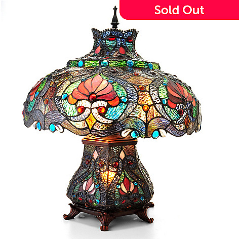 405-652 - Tiffany-Style 21.5'' Ruby Ribbon Double Lit Stained Glass Table Lamp