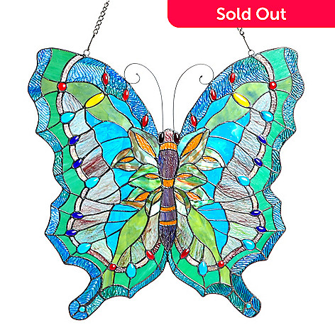 405-654 - Tiffany-Style 23'' Ocean Butterfly Stained Glass Window Panel