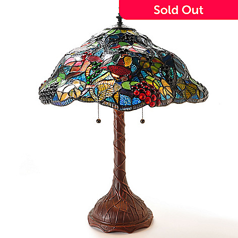 405-712 - 29'' Dark Forest Bloom Stained Glass Table Lamp