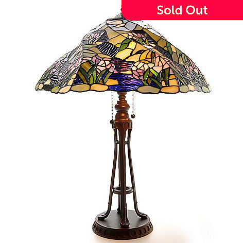 405-723 - 26'' Purple Earth Stained Glass Table Lamp