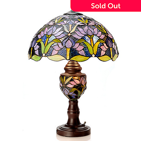 405-858 - 23'' Blooming Lotus Double Lit Stained Glass Table Lamp