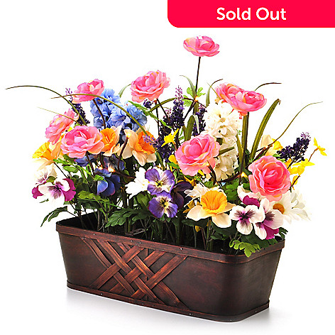 405-871 - Style at Home with Margie 22'' Pre-Lit LED Vibrant Blossoms Floral Box