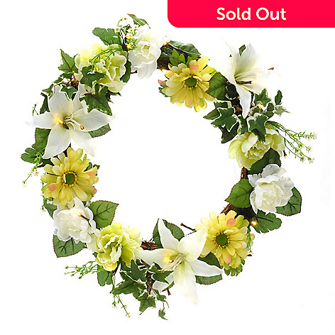 405-926 - Style at Home with Margie 20'' Battery Operated Pre-lit LED Peace Lily Wreath