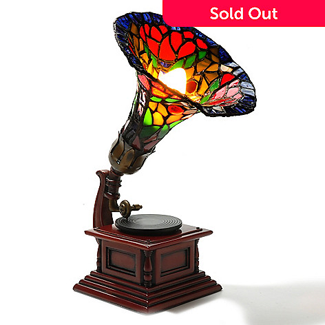 405-949 - Tiffany-Style 12'' Gramophone Stained Glass Accent Lamp