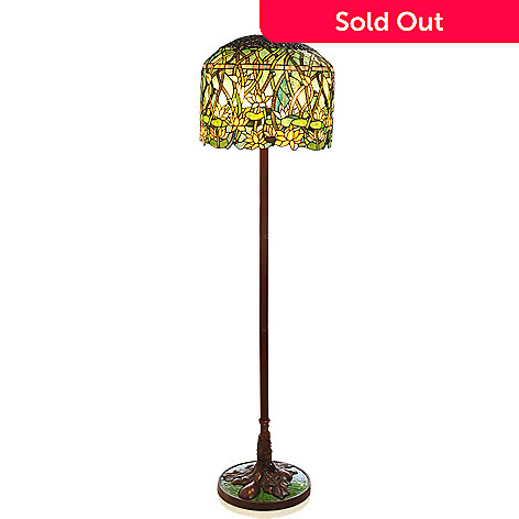 405-960 - Tiffany-Style 65'' Grand Lotus Stained Glass Floor Lamp
