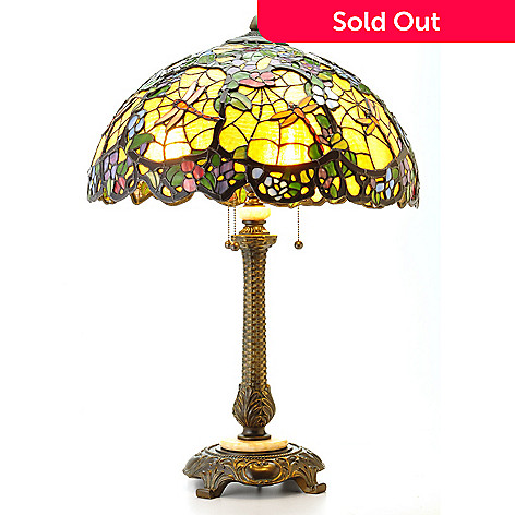 405-961 - Tiffany-Style 30'' Dragonfly Web Stained Glass Table Lamp