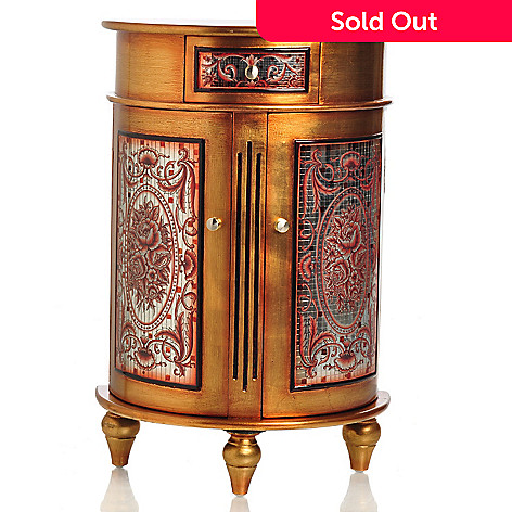 405-967 - Style at Home with Margie 32'' Argento Mosaic Half Moon Cabinet