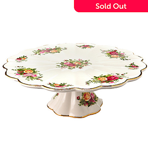 405-977 - Royal Albert Old Country Rose 12'' Pedestal Cake Plate
