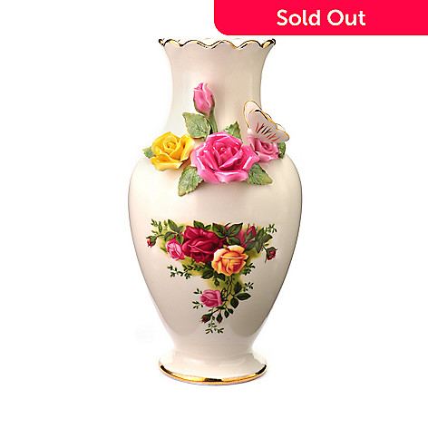 405-986 - Royal Albert® Old Country Rose 8'' Bouquet Vase Signed by Michael Doulton