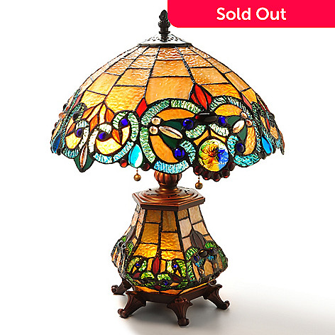 405-998 - Tiffany-Style 18'' Corrista Short Double Lit Stained Glass Table Lamp
