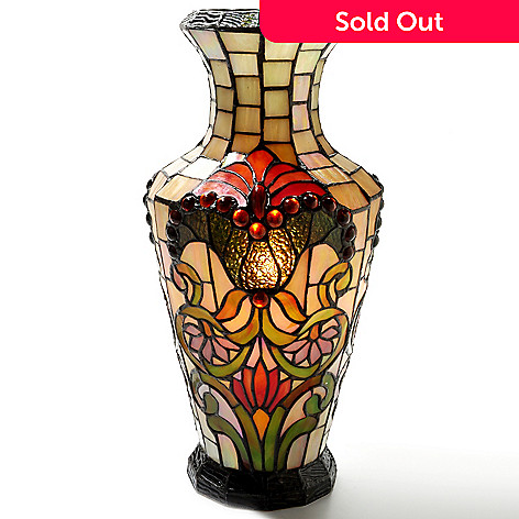 405-999 - Tiffany-Style 17'' Lillianna Stained Glass Lit Vase