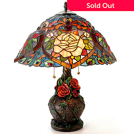 406-003 - Tiffany-Style 22'' Heart of Roses Stained Glass Table Lamp