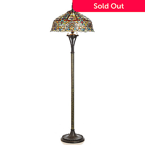 406-004 - Tiffany-Style 67'' Webbed Heart Stained Glass Floor Lamp