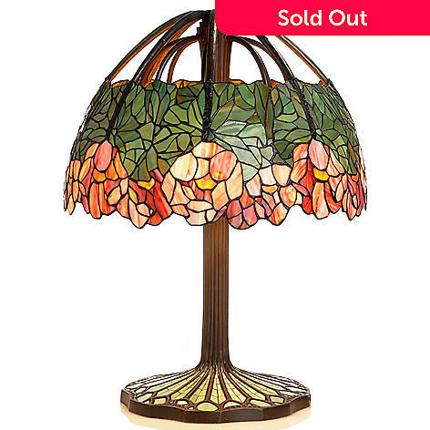 406-031 - Tiffany-Style 26'' Lotus Stained Glass Table Lamp