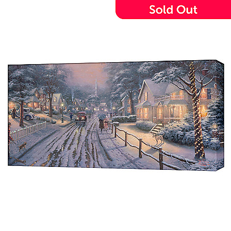 406-052 - Thomas Kinkade Hometown Christmas Memories 31''x16'' Gallery Wrap Canvas Artwork