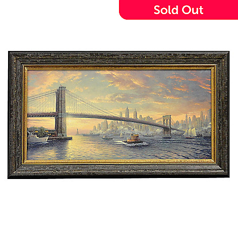 406-058 - Thomas Kinkade ''Spirit of New York'' Framed Panoramic Textured Print