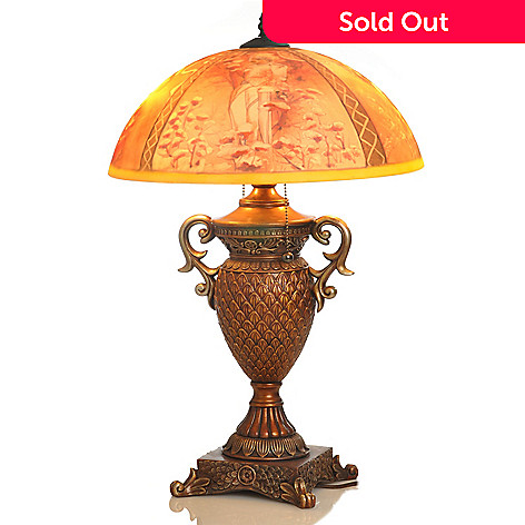 406-064 - Style at Home with Margie 24'' Four Seasons Hand Painted Glass Lamp