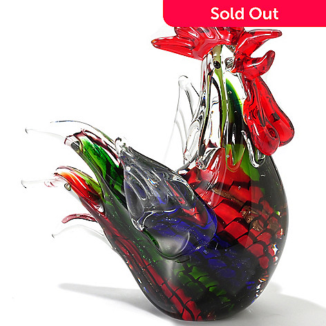 406-087 - Favrile 8'' Hand-Blown Art Glass Rooster Figurine