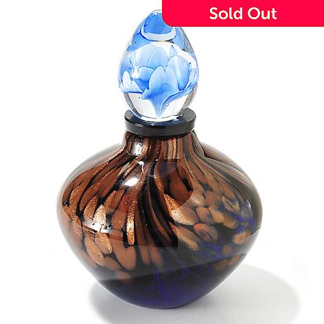 406-090 - Favrile Tidal Wave 4.5'' Hand-Blown Art Glass Perfume Bottle Figurine