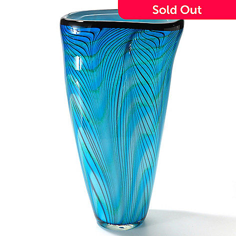 406-094 - Favrile15'' Hand-Blown Art Glass Electric Blue Vase