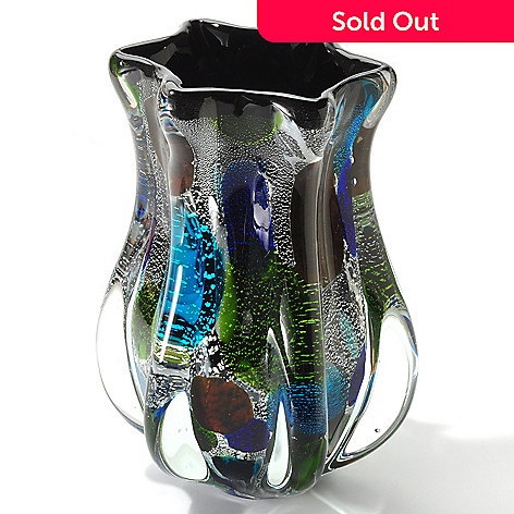 406-095 - Favrile 10'' Hand-Blown Art Glass Multi Color Vase