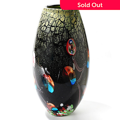 406-099 - Favrile 14'' Hand-Blown Art Glass Sea Vase