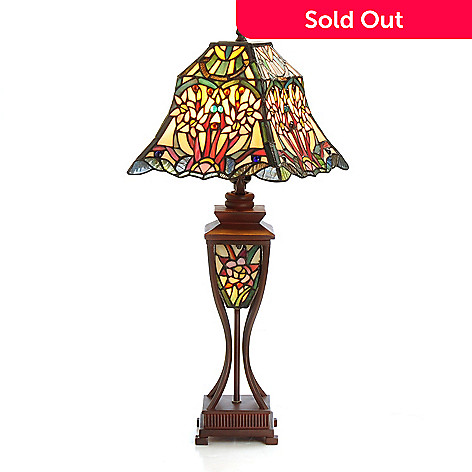 406-118 - Tiffany-Style 24.5'' Jasmina Double Lit Stained Glass Table Lamp