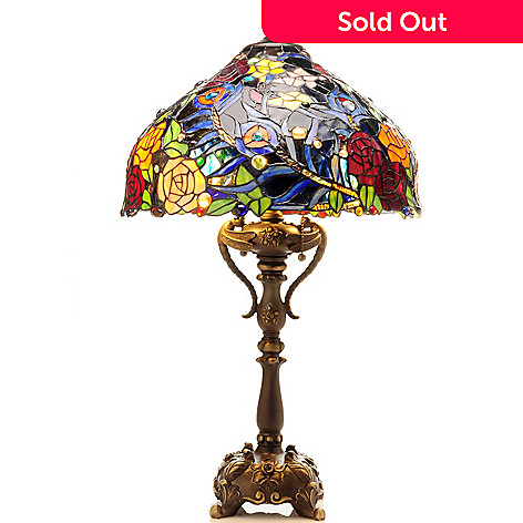 406-120 - Tiffany-Style 30'' Evening Rose Stained Glass Table Lamp