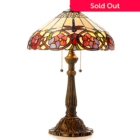 406-125 - Tiffany-Style 24'' Pastel Dragonfly Stained Glass Table Lamp