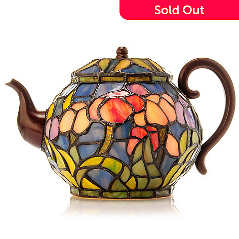 406-130 - Tiffany-Style 10'' Tulip Teapot Stained Glass Accent Lamp