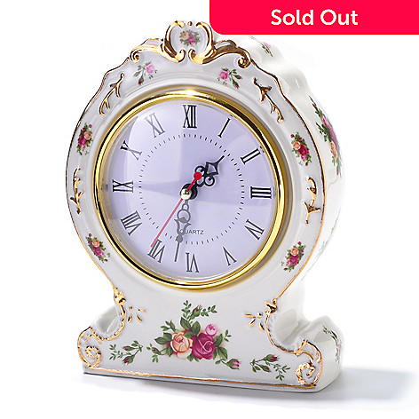 406-159 - Royal Albert Old Country Rose Victorian Clock -Signed by Michael Doulton