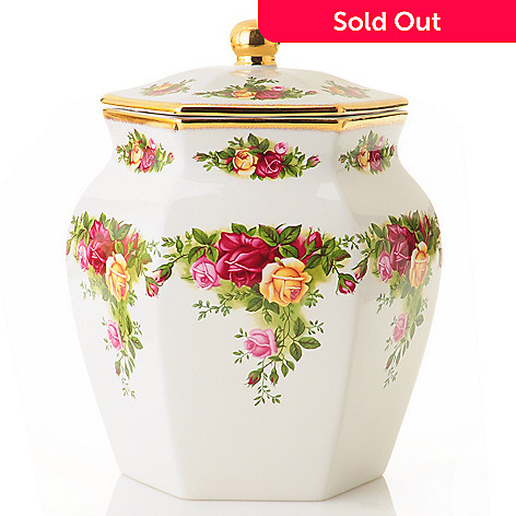 406-183 - Royal Albert Old Country Roses 7.5'' Porcelain Biscuit Jar- Signed by Michael Doulton