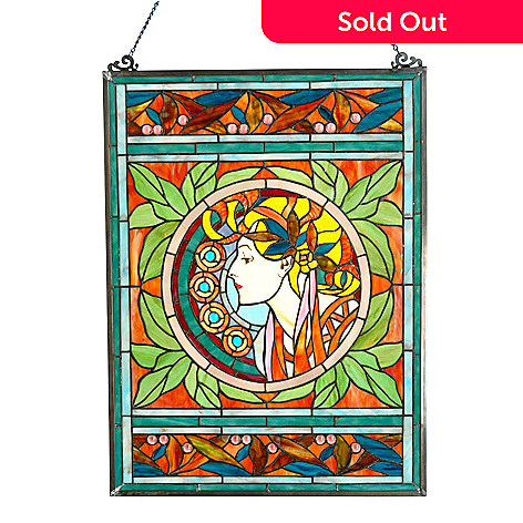 406-210 - 25'' x 18'' Art Nouveau Woman Hanging Stained Glass Window Panel