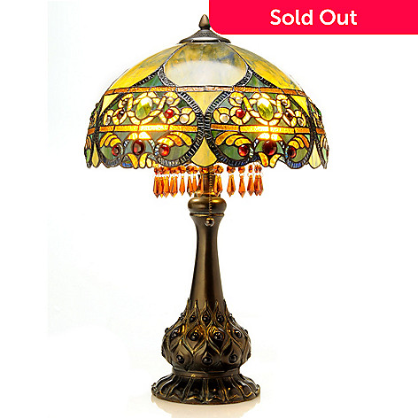 406-211 - 26'' Ombre Beaded Crystal Stained Glass Table Lamp