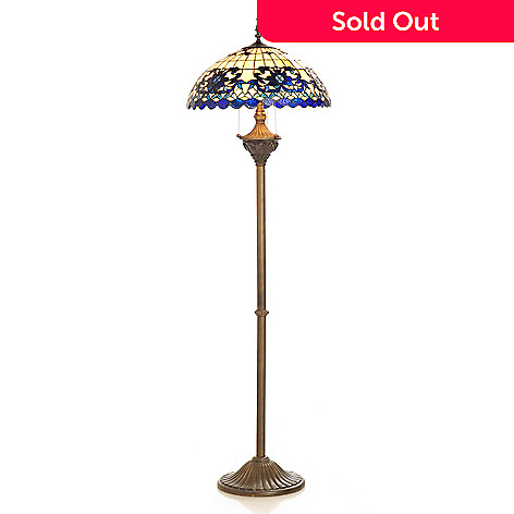406-213 - Tiffany-Style 65'' Sapphire Opal Stained Glass Floor Lamp
