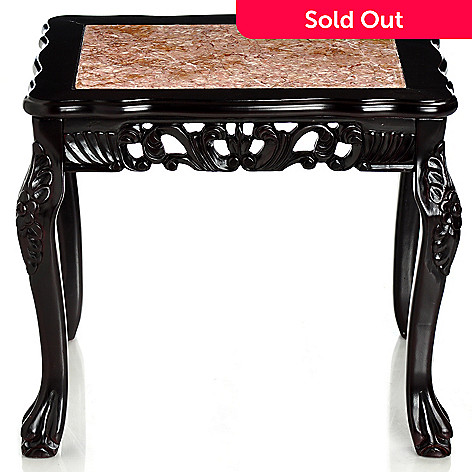 406-218 - Virginian-Style Marble Inlay End Table