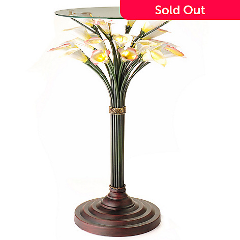 406-220 - Calla Lily LED-Lit Glass Top Table