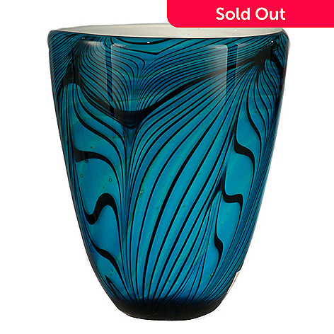 406-228 - Favrile 8.75'' Art Glass Hand-Blown Electric Blue Wave Vase