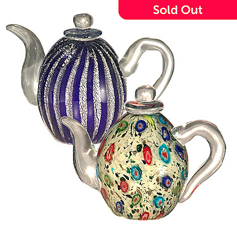 406-231 - Favrile Set of Two 4.75'' Hand-Blown Art Glass Teapots